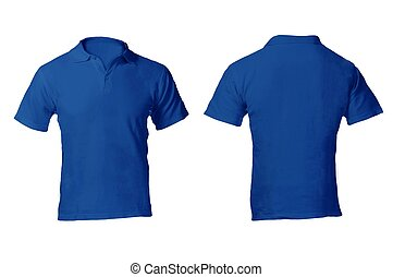 Men's Blank Blue Polo Shirt Template - Men's Blank Blue Polo...