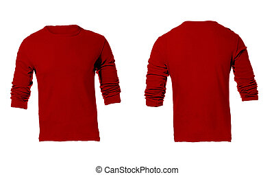 Men's Blank Red Long Sleeved Shirt, Front and Back Design Template