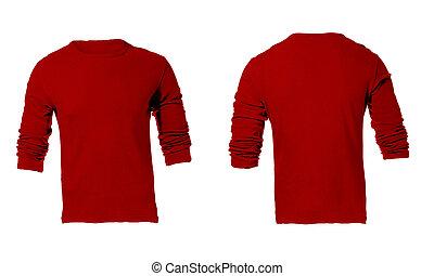 Men's Blank Red Long Sleeved Shirt Template - Men's Blank...