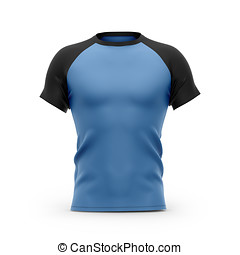 Men's blue t shirt with black short raglan sleeves. 3d ...