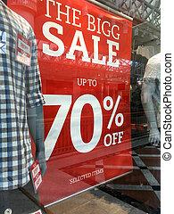 mens, boutique, mode, verkoop teken