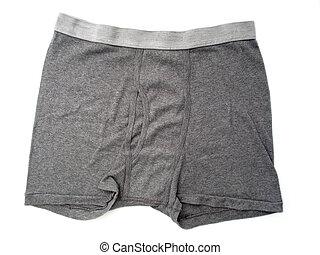 A pair of plan gray boxer briefs for men.
