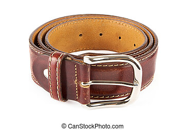 Mens brown leather belt over white