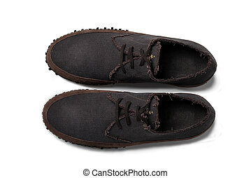 Mens brown leather loafers with tied laces - path included