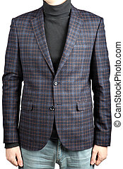 Mens brown woolen suit jacket checkered, isolated image on white