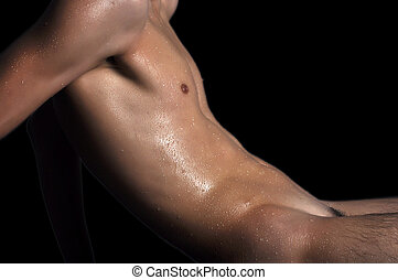 Men's chest and abdomen - Abdomen and chest sports a young...