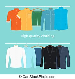 Mens clothes on hangers