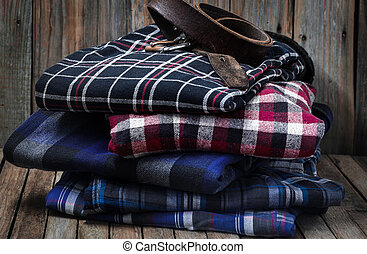 Mens clothes on wooden background - Mens clothes, neatly...
