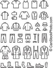 Mens clothing, male fashion line vector icons set