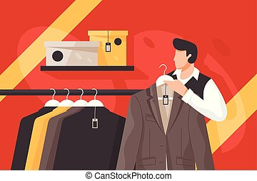 Mens clothing store vector illustration. Attractive male in ...