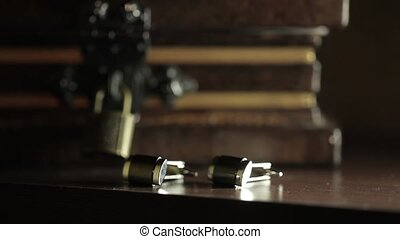Men's cufflinks for a shirton on the table Macro slider...