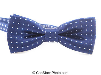 mens dark blue bow-tie with white peas isolated on a white background