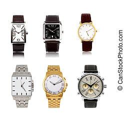 mens, diferente, relojes, conjunto