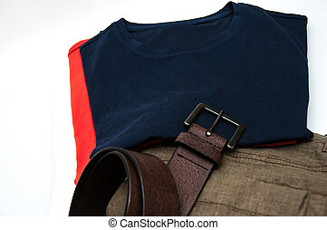 Mens dress pants trousers T shirts and belt isolated against whitebackground