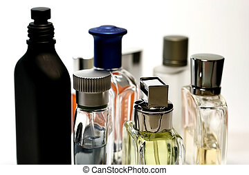Mens Fashion Perfumes and Fragrances in white background