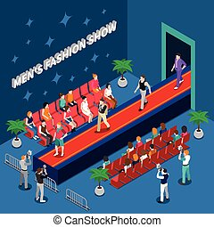 Mens fashion show with models on red walkway spectators and media with cameras isometric vector illustration