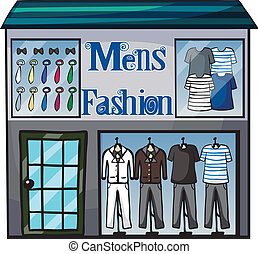 Mens fasion shop - Illustration of mens fasion shop on a...