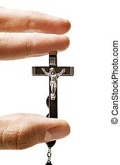 Catholic crucifix isolated on white background