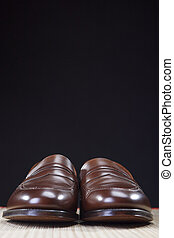Mens Footwear Concepts. Pair of Brown Modern Calf Leather Brown Penny Loafers Shoes.Closeup Shot.