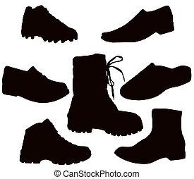 Mens Footwear - Isolated Men\'s Footwear - Black on white...