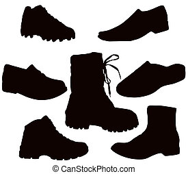 Isolated Men's Footwear - Black on white (shoes, boots, tekkies, sandals, slippers)
