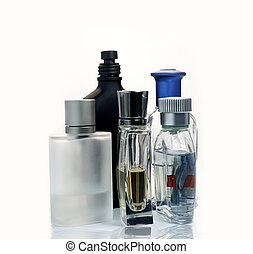 Mens Fragrances and perfumeries over white background