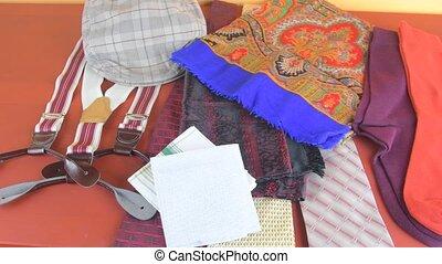 Men's garments. Clothing concept for men. Colorful socks,...