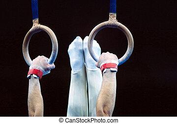 men\'s, ginnastica, routine, su, il, rings.