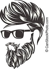 mens hairstyles and hirecut with beard mustache in face
