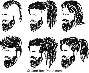 mens hairstyles and hirecut with beard mustache - mens set...
