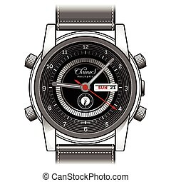 Mens hand watch vector icon - Vector hand watch. Mens wrist...