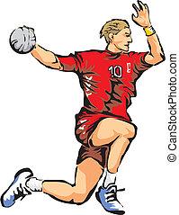 men's handball - team sport, olympic handball, shooter on...