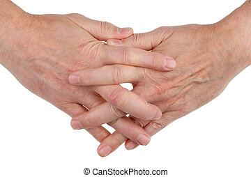 Men's hands are woven together with fingers as a symbol of friendship and love. Isolated
