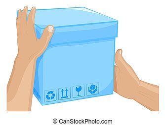 Mens hands hold box with barcode and cargo storage signs. Shipping and home delivery. Gifts and surprises with courier delivery. Cartoon vector on white