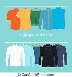 mens, hangers, kleren