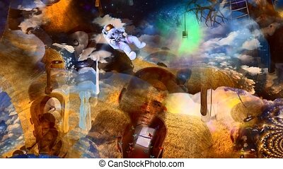 Men's heads with different thoughts. Light bulb on a tree branch. Astronaut in surreal landscape