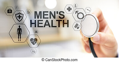 Mens Health banner, medical and health care concept on ...