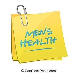 men's health post it illustration design over a white...