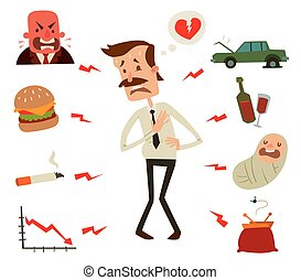 Mens heart problems. Businessman heart risk factors. Mens heart attack stress heart infarct. Heart attack vector illustration. Children, smoke, drinks and alcohol, fast harmful food, crisis business man