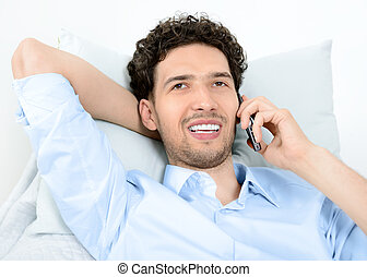 mens het spreken, op, mobiele telefoon