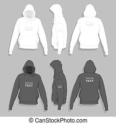 Men's hoodie design template - Front, back and side views of...