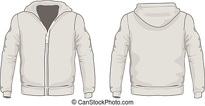 Men's hoodie shirts template. Front and back views. Vector illustration.