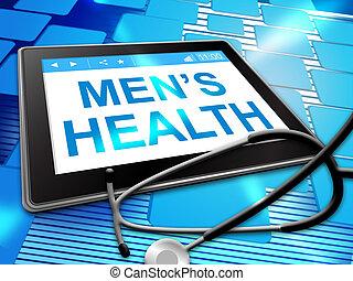 mens, jelez, számítógép, egészség, orvosság, preventív