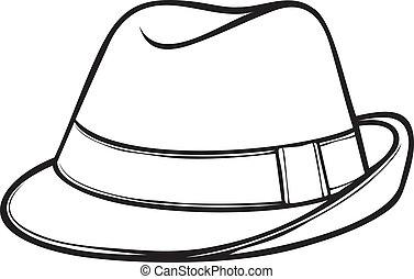(men's, klasyk, kapelusz, fedora, fedora)