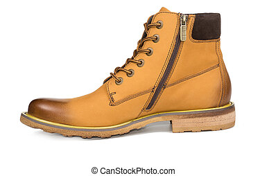 Mens leather ankle boot with zipper