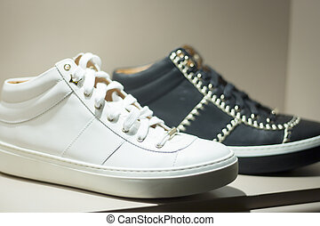 Men's leather casual shoes in store