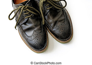 Men's leather shoes on the white background