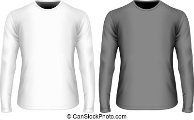 mens, manga longa, preto branco, t-shirt