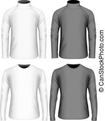 mens, manga longa, t-shirt, e, suéter