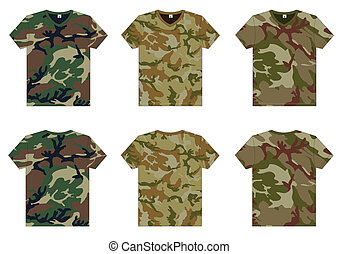 Men's Military T-Shirts v-neck front and back view. Vector ...